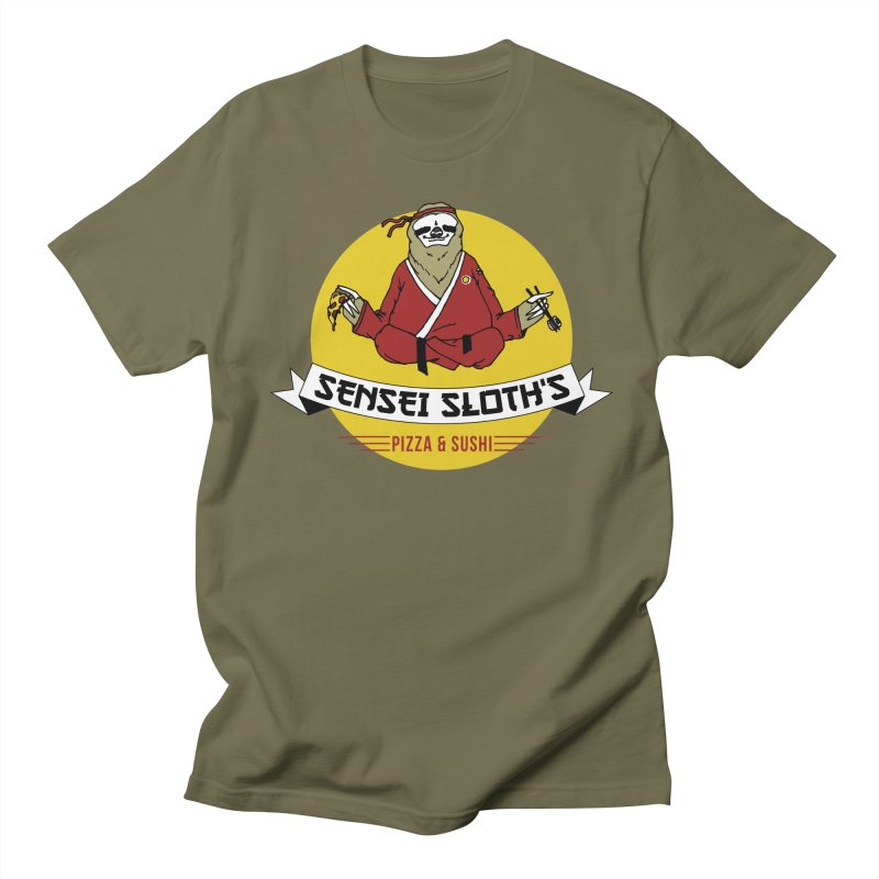 Sensei Sloth's Pizza & Sushi Men's T-shirt by Slothfox Apparel by Trenn