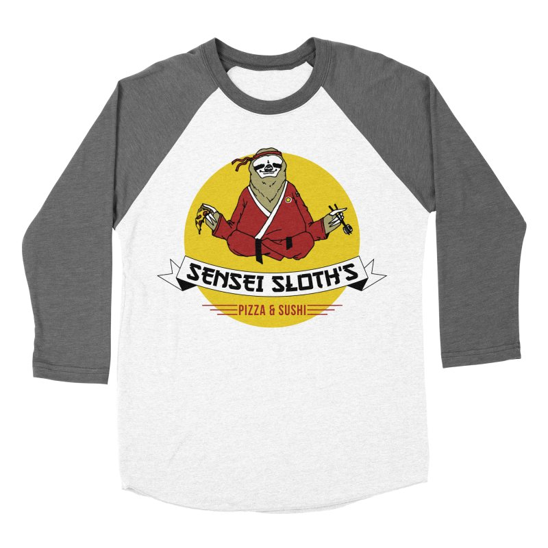 Sensei Sloth's Pizza & Sushi Men's Baseball Triblend T-Shirt by Slothfox Apparel by Trenn