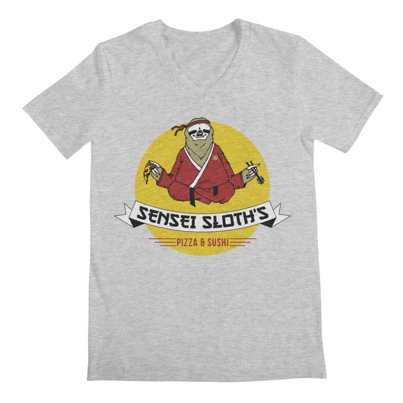 Sensei Sloth's Pizza & Sushi Men's V-Neck by Slothfox Apparel by Trenn