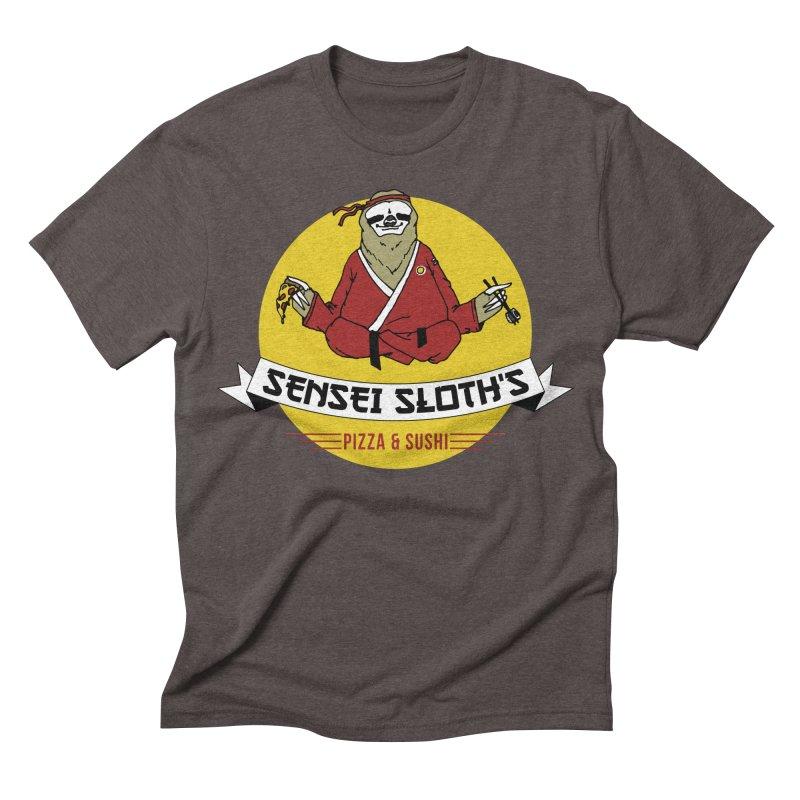 Sensei Sloth's Pizza & Sushi Men's Triblend T-shirt by Slothfox Apparel by Trenn