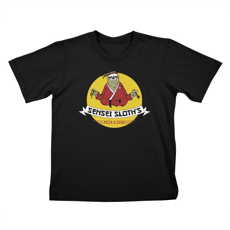 Sensei Sloth's Pizza & Sushi Kids T-shirt by Slothfox Apparel by Trenn