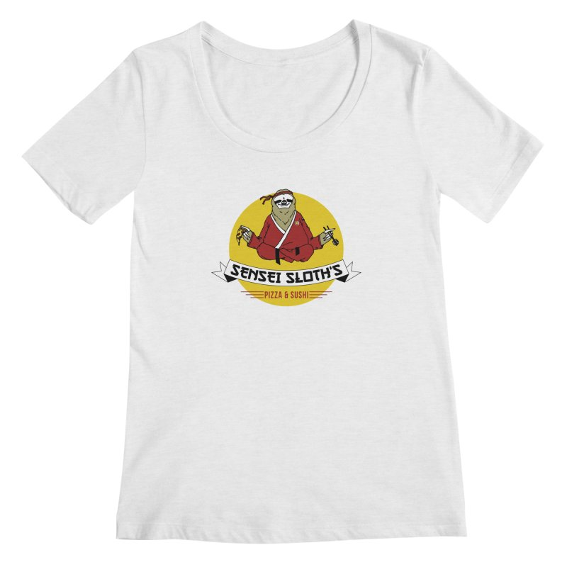Sensei Sloth's Pizza & Sushi Women's Scoopneck by Slothfox Apparel by Trenn
