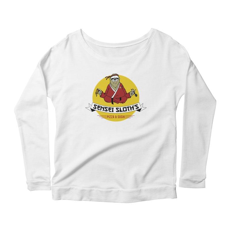 Sensei Sloth's Pizza & Sushi Women's Longsleeve Scoopneck  by Slothfox Apparel by Trenn