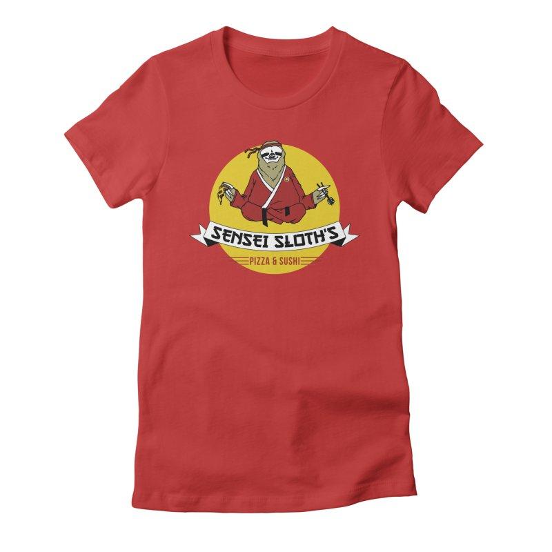 Sensei Sloth's Pizza & Sushi Women's Fitted T-Shirt by Slothfox Apparel by Trenn
