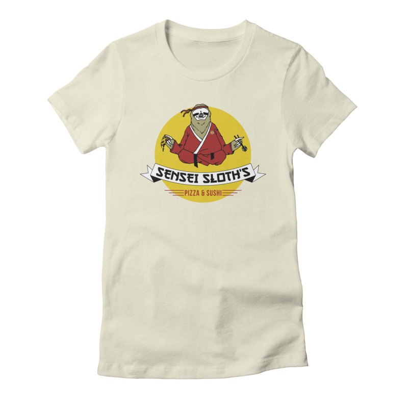 Sensei Sloth's Pizza & Sushi Women's Fitted T-Shirt by Slothfox Apparel by Trenn