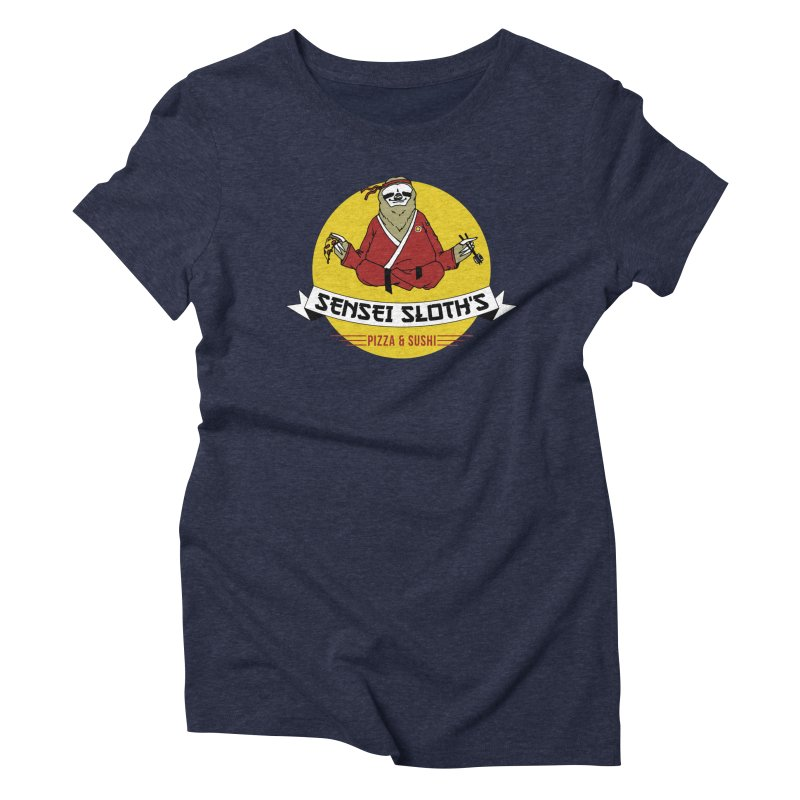 Sensei Sloth's Pizza & Sushi Women's Triblend T-shirt by Slothfox Apparel by Trenn