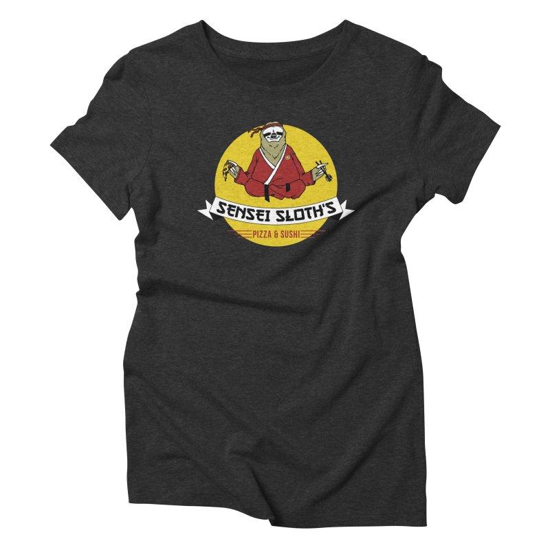 Sensei Sloth's Pizza & Sushi Women's Triblend T-shirt by Slothfox Apparel by Trenn