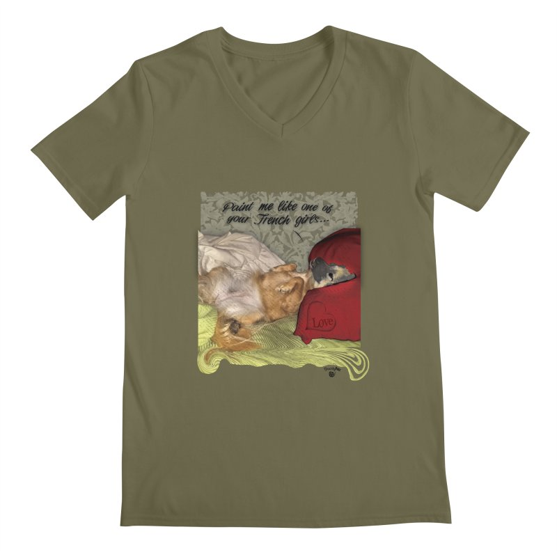 French Girl Men's Regular V-Neck by SmartyPetz's Artist Shop