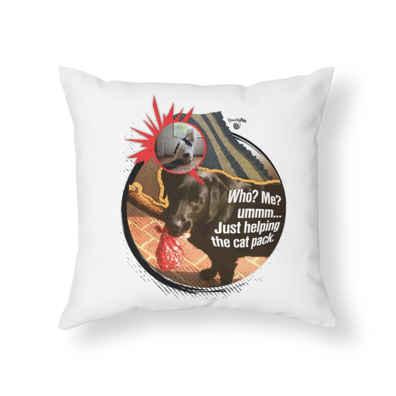 Helping the cat pack Home Throw Pillow by SmartyPetz's Artist Shop