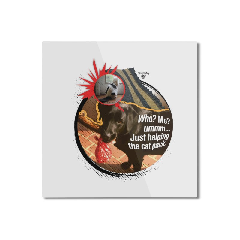 Helping the cat pack Home Mounted Aluminum Print by SmartyPetz's Artist Shop