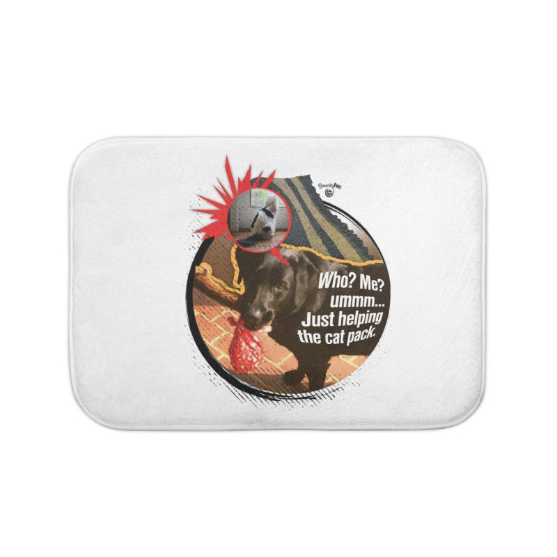 Helping the cat pack Home Bath Mat by SmartyPetz's Artist Shop