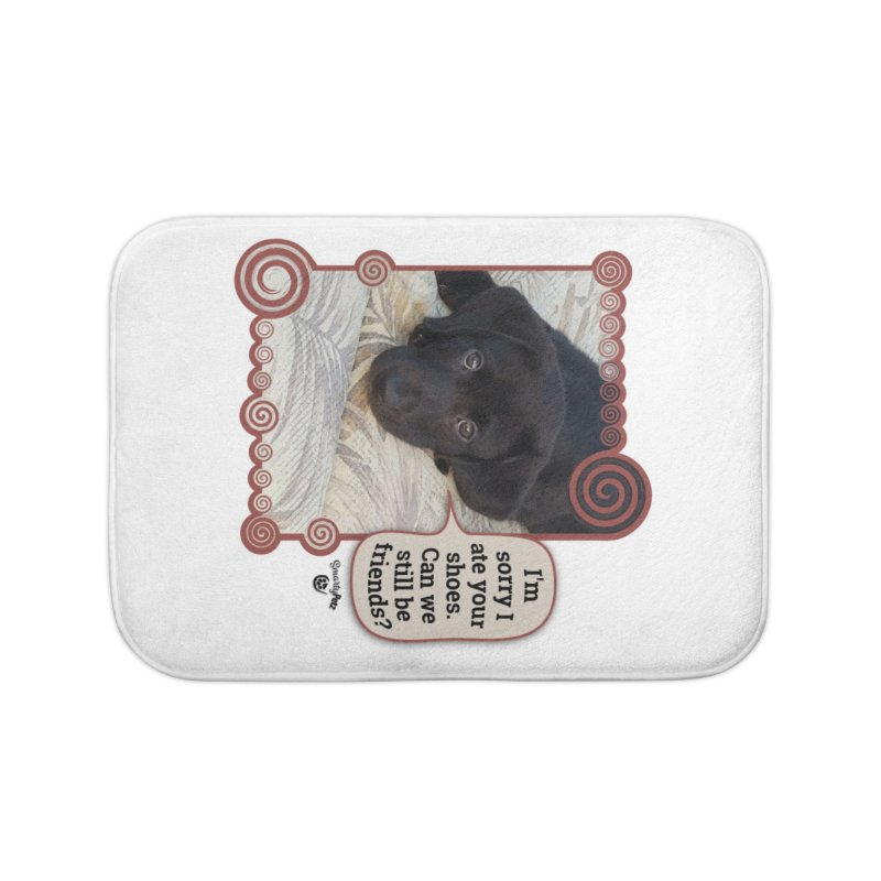 Sorry I ate your shoes Home Bath Mat by Smarty Petz's Artist Shop