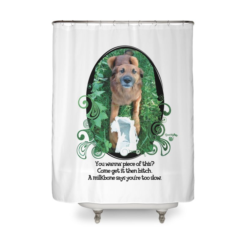 A Milkbone says your too slow. Home Shower Curtain by Smarty Petz's Artist Shop