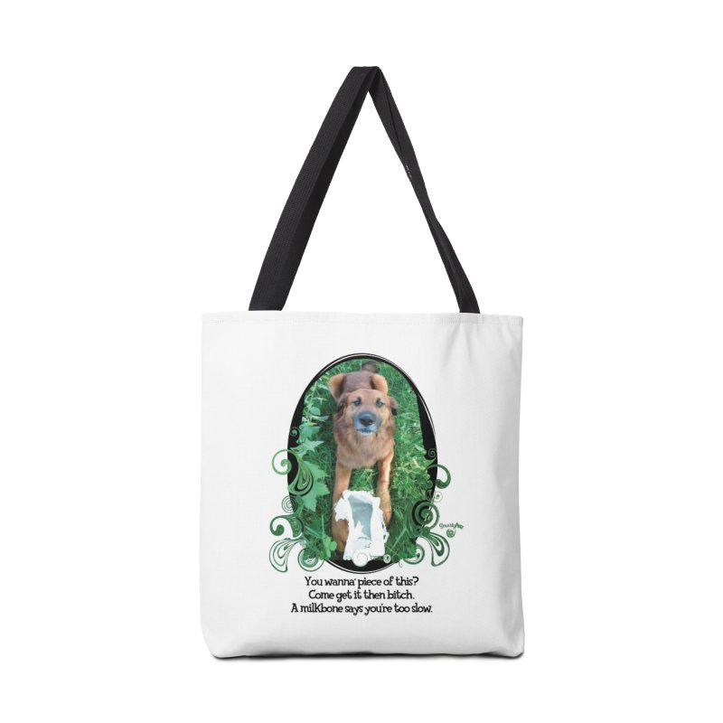 A Milkbone says your too slow. Accessories Tote Bag Bag by Smarty Petz's Artist Shop
