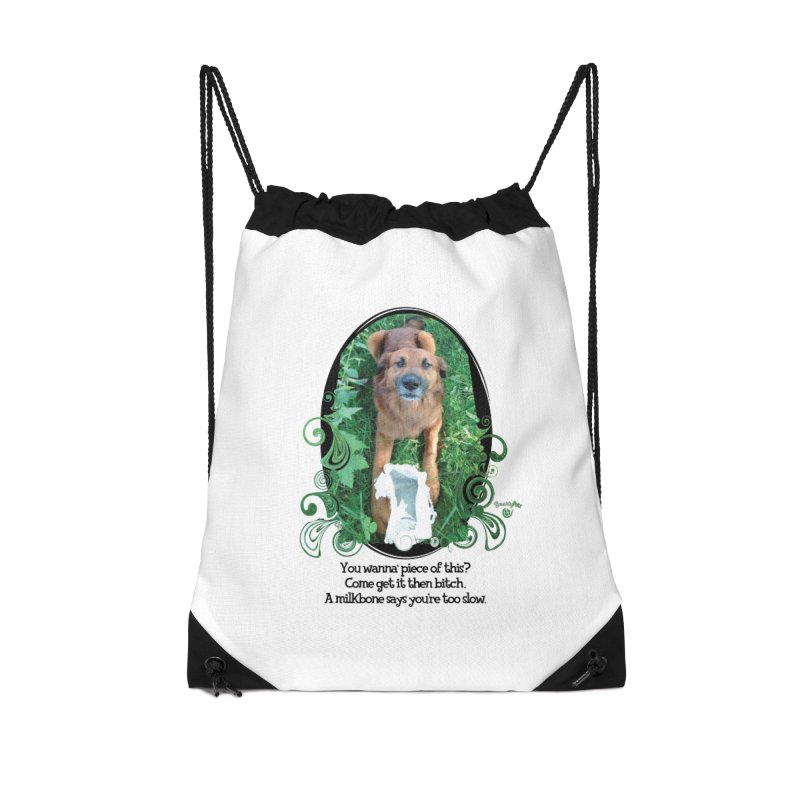 A Milkbone says your too slow. Accessories Drawstring Bag Bag by Smarty Petz's Artist Shop