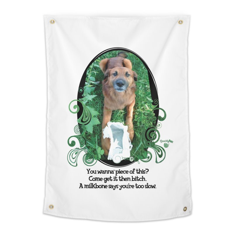 A Milkbone says your too slow. Home Tapestry by Smarty Petz's Artist Shop