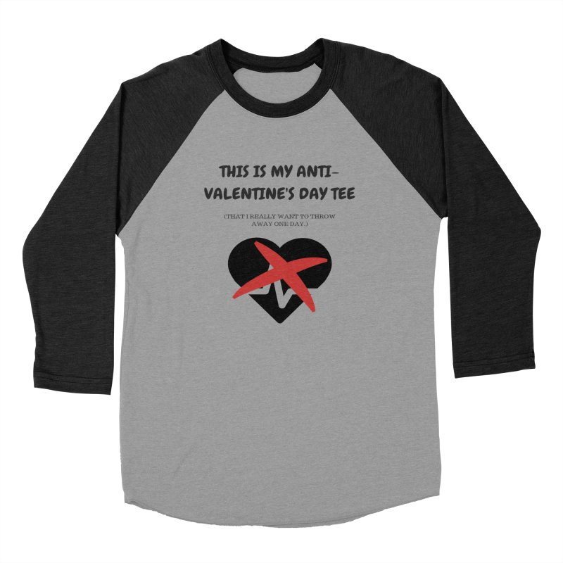 This is my anti-Valentine'sDay tee in Men's Baseball Triblend Longsleeve T-Shirt Heather Onyx Sleeves by Soapboxy Boutique