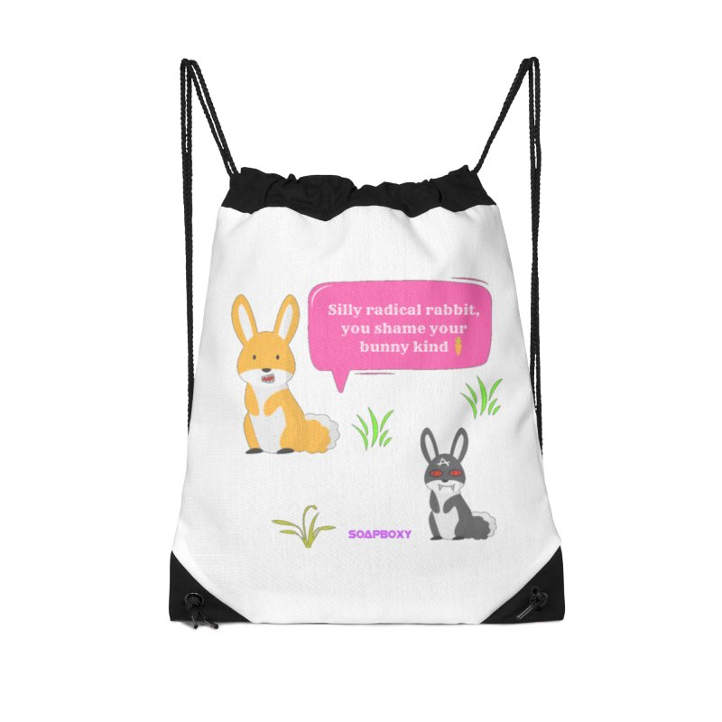 Bunny kind Accessories Drawstring Bag Bag by Soapboxy Boutique