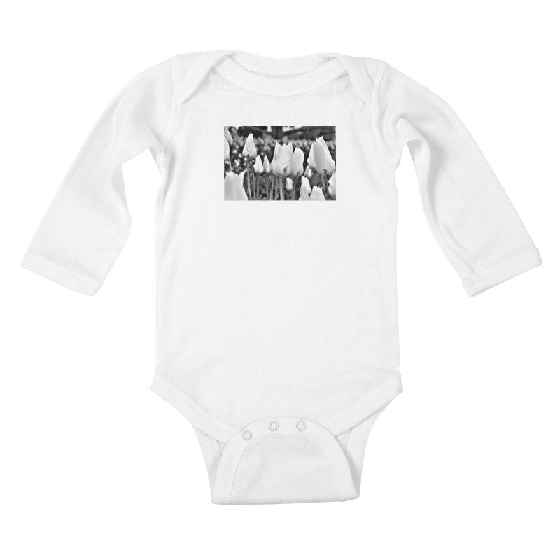 Grayscale tulips Kids Baby Longsleeve Bodysuit by Soulstone's Artist Shop