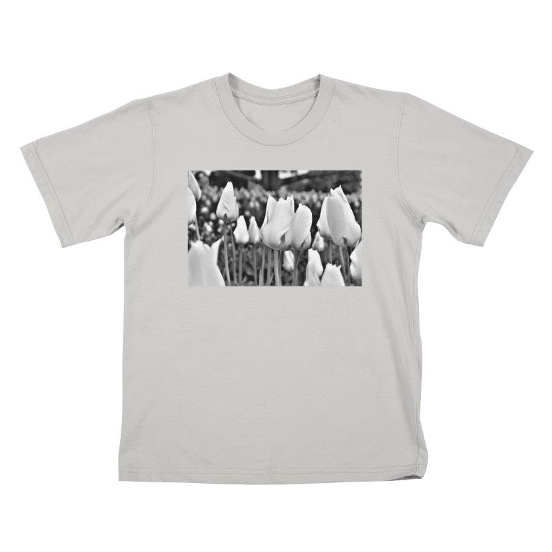 Grayscale tulips Kids T-Shirt by Soulstone's Artist Shop