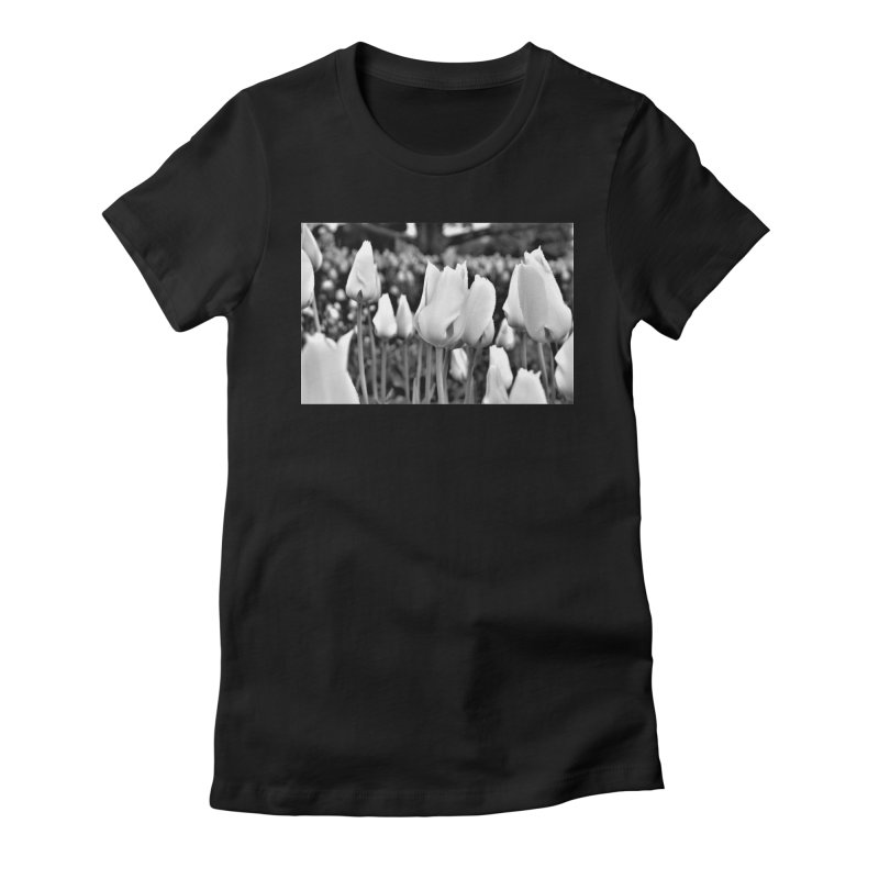 Grayscale tulips Women's Fitted T-Shirt by Soulstone's Artist Shop