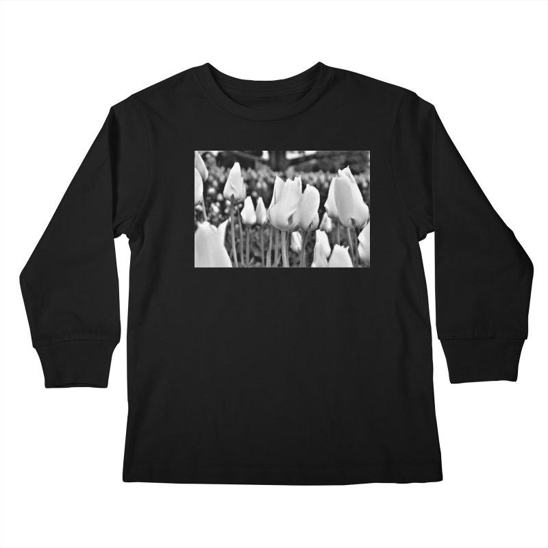 Grayscale tulips Kids Longsleeve T-Shirt by Soulstone's Artist Shop