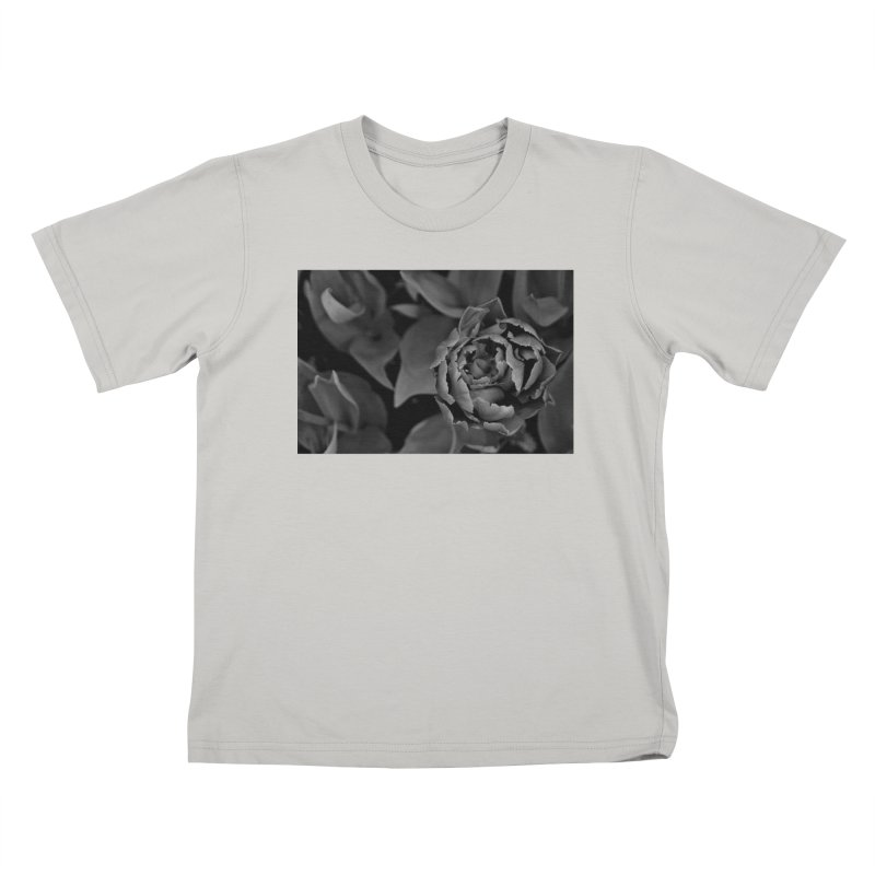 grayscale rose Kids T-shirt by Soulstone's Artist Shop