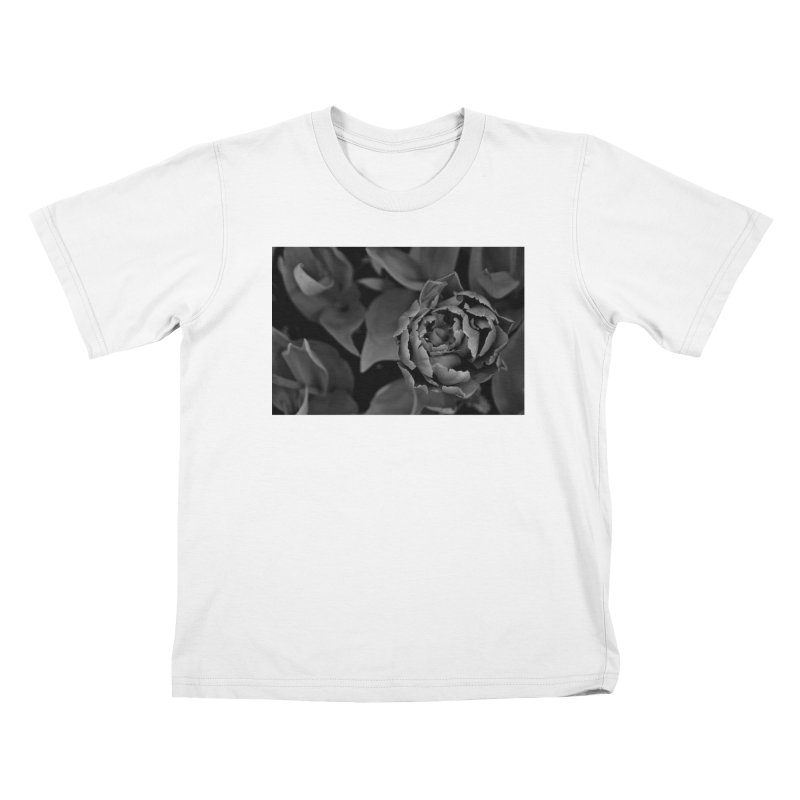 grayscale rose Kids T-shirt by Soulstone's Artist Shop