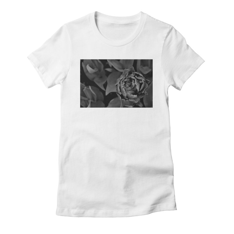 grayscale rose Women's Fitted T-Shirt by Soulstone's Artist Shop