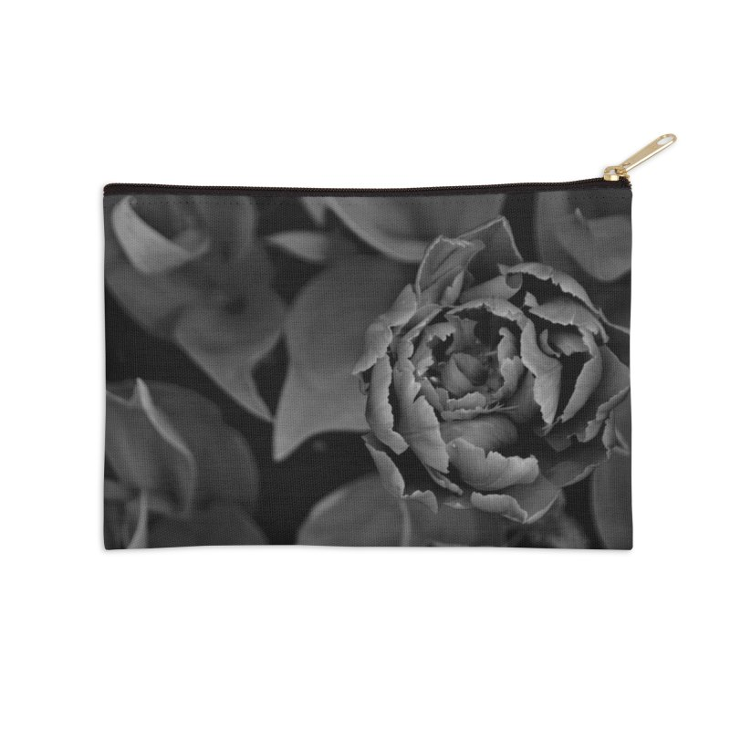 grayscale rose Accessories Zip Pouch by Soulstone's Artist Shop