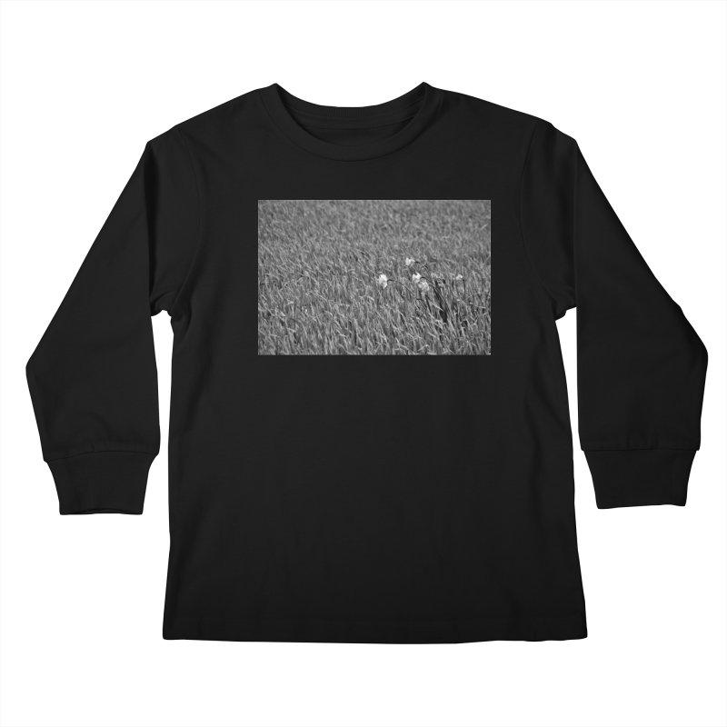 Grayscale field Kids Longsleeve T-Shirt by Soulstone's Artist Shop