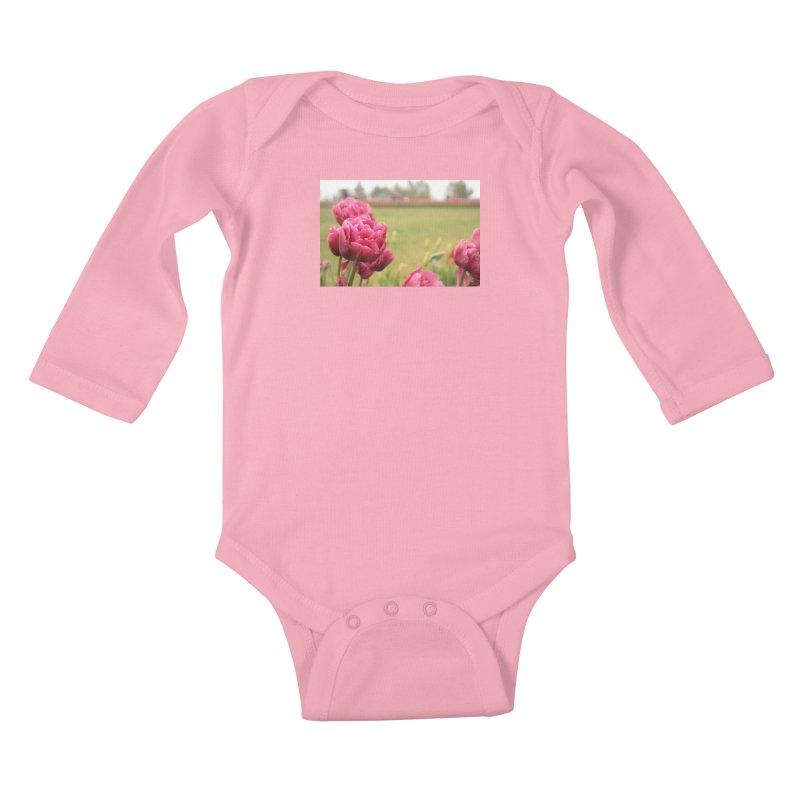Pink petaled Kids Baby Longsleeve Bodysuit by Soulstone's Artist Shop