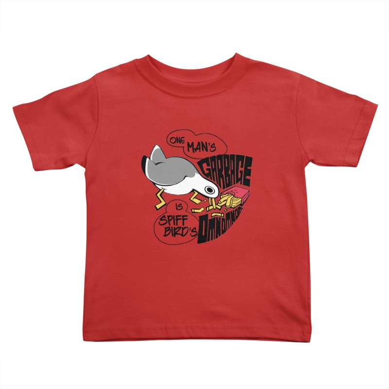 One Man's Garbage is Spiff Bird's Omnomnom Kids Toddler T-Shirt by The Spiffai Team Shop