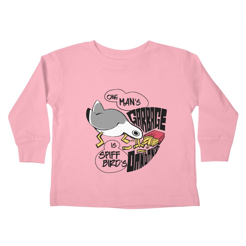 One Man's Garbage is Spiff Bird's Omnomnom Kids Toddler Longsleeve T-Shirt by The Spiffai Team Shop