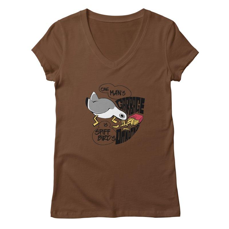 One Man's Garbage is Spiff Bird's Omnomnom Women's V-Neck by The Spiffai Team Shop