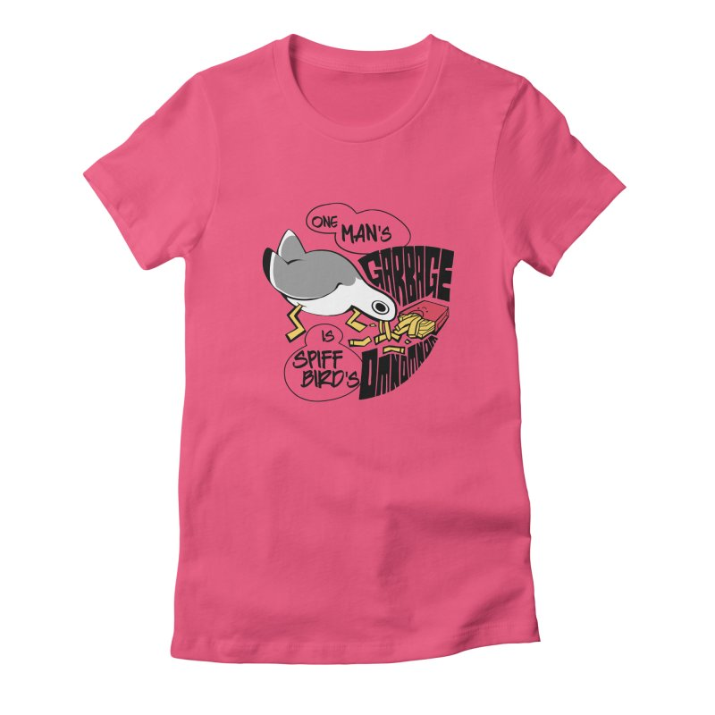 One Man's Garbage is Spiff Bird's Omnomnom Women's Fitted T-Shirt by The Spiffai Team Shop
