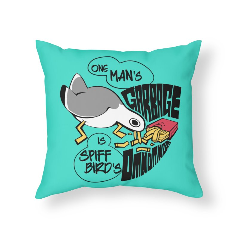 One Man's Garbage is Spiff Bird's Omnomnom Home Throw Pillow by The Spiffai Team Shop