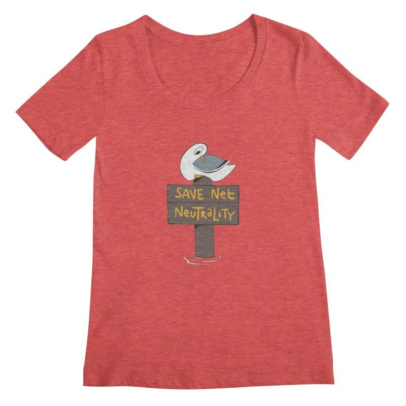 Save Net Neutralilty Spiff Bird Women's Scoopneck by The Spiffai Team Shop