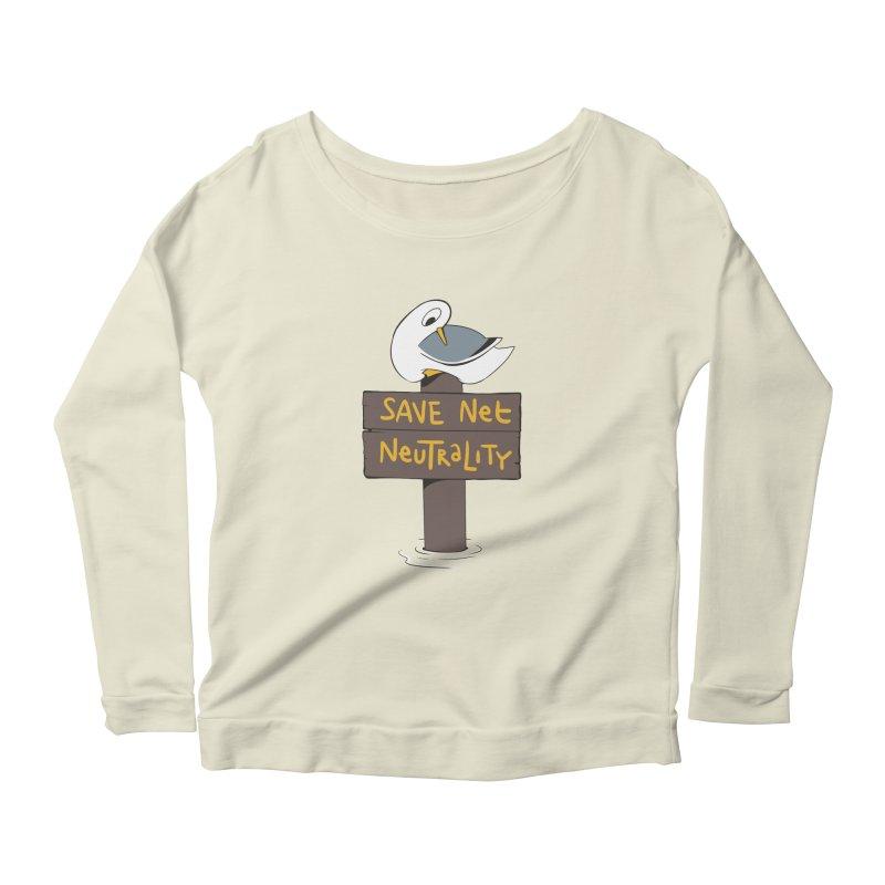 Save Net Neutralilty Spiff Bird Women's Longsleeve Scoopneck  by The Spiffai Team Shop