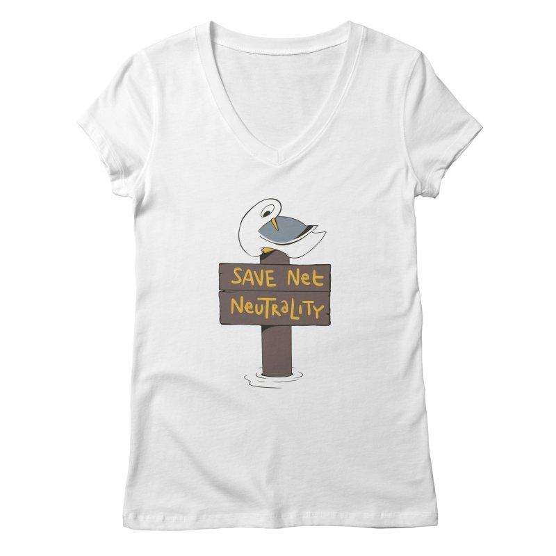 Save Net Neutralilty Spiff Bird Women's V-Neck by The Spiffai Team Shop