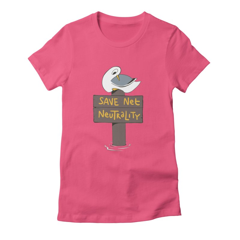Save Net Neutralilty Spiff Bird Women's Fitted T-Shirt by The Spiffai Team Shop