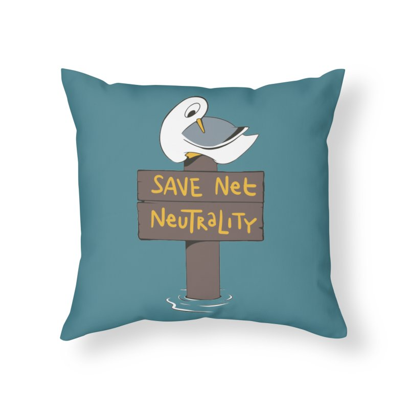 Save Net Neutralilty Spiff Bird Home Throw Pillow by The Spiffai Team Shop