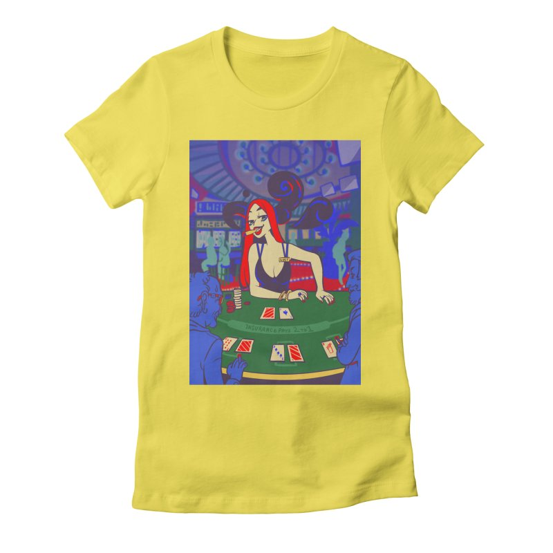 Golden Casino Card Art Women's Fitted T-Shirt by The Spiffai Shop