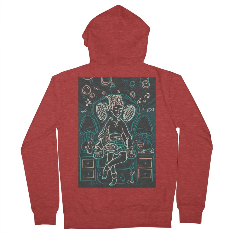 Lazy Man Recliner Card Art Women's French Terry Zip-Up Hoody by The Spiffai Shop
