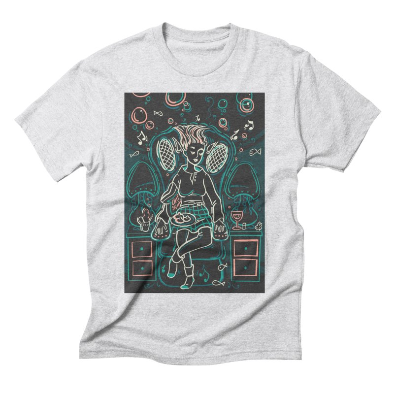 Lazy Man Recliner Card Art Men's Triblend T-Shirt by The Spiffai Shop