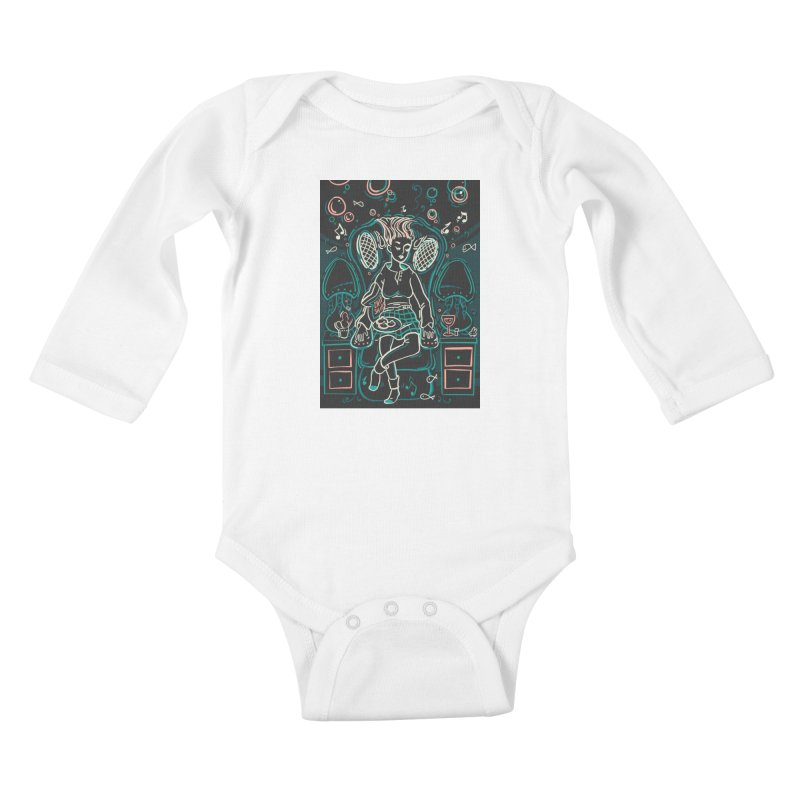 Lazy Man Recliner Card Art Kids Baby Longsleeve Bodysuit by The Spiffai Shop