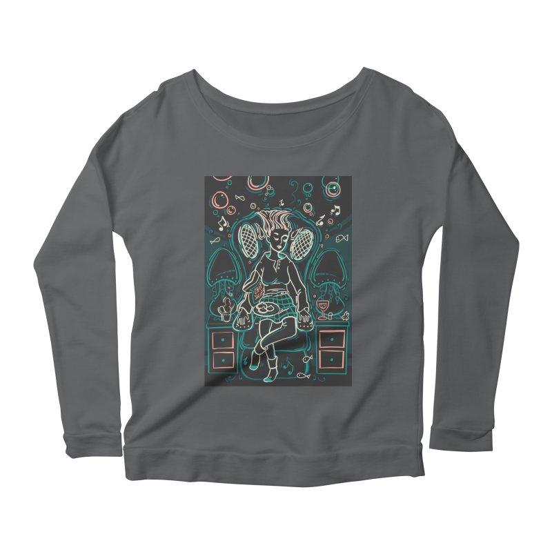 Lazy Man Recliner Card Art Women's Scoop Neck Longsleeve T-Shirt by The Spiffai Shop