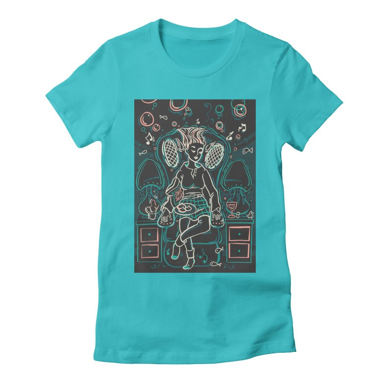 Lazy Man Recliner Card Art in Women's Fitted T-Shirt Pacific Blue by The Spiffai Shop