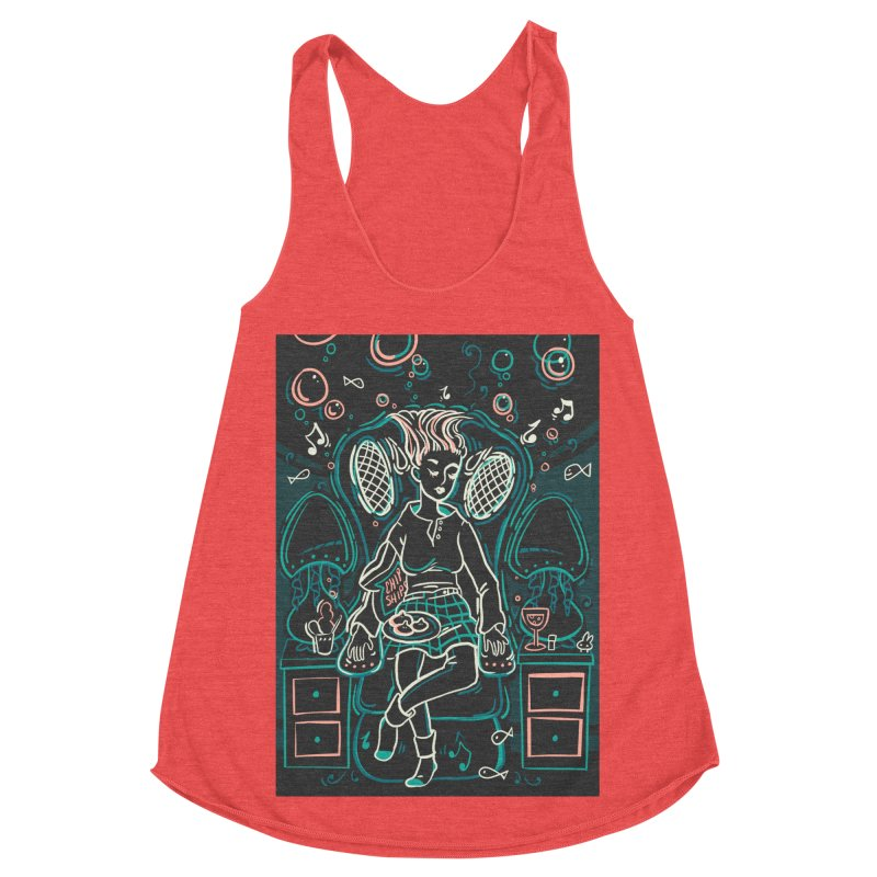 Lazy Man Recliner Card Art Women's Racerback Triblend Tank by The Spiffai Shop