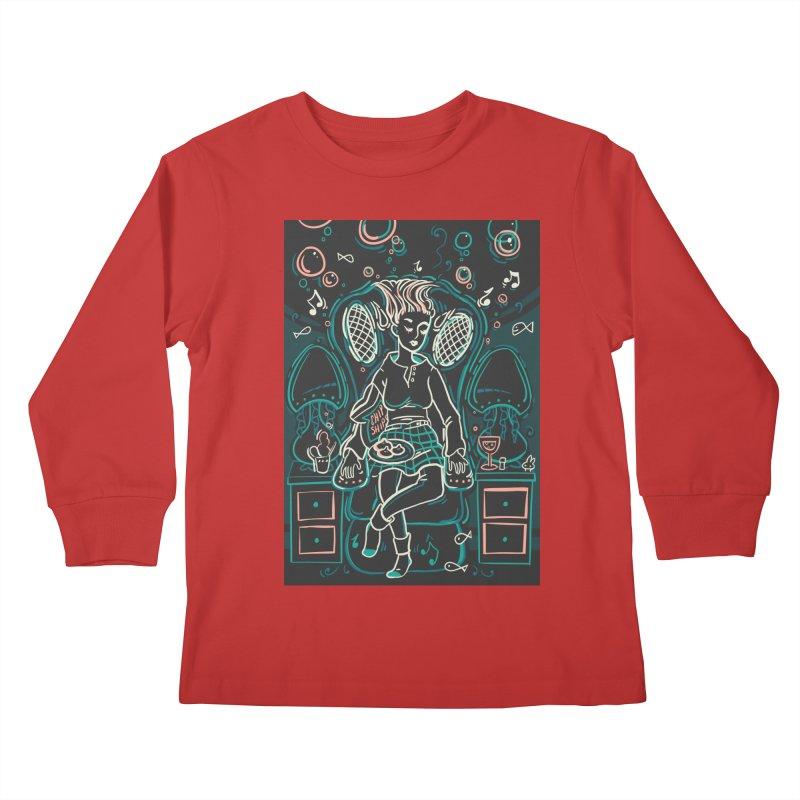 Lazy Man Recliner Card Art Kids Longsleeve T-Shirt by The Spiffai Shop